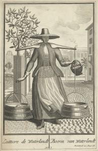 Tekening van melkmeisje in klederdracht met melk en eieren in Amsterdam rond 1700
