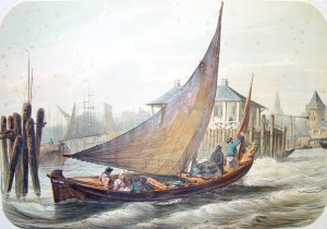 Litho van melkschuit in de haven van Amsterdam in circa 1860